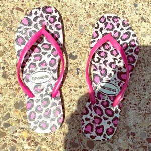 Havianas pink/white leopard